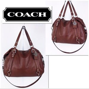 Coach XL Saddle Brown Pebble Leather Satchel